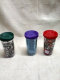 Three Tervis Travel Drink Containers