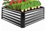 Outdoor Metal Raised Garden Bed for Vegetables, Flowers, Herbs - 4x4x1.5ft