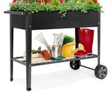 Best Choice Products Elevated Metal Garden Bed for Backyard w/ Wheels, Shelf