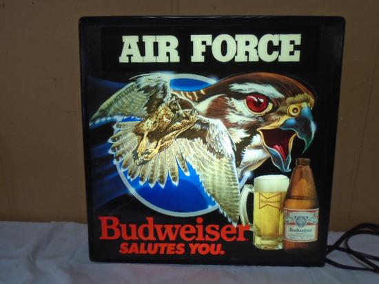 """Lighthed Budweiser """"Air Force"""" Bar Sign"""