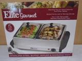 Elite Gourmet Stainless Steel Buffet Server