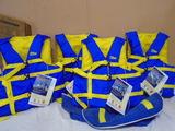 (4) West Marine Runabout Adult Life Vests w/Storage Bag