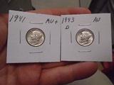 1941 and 1943-D Mint Mercury Dimes