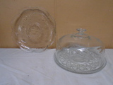 Glass Dome Cake Plate and Glass Platter