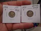 1916 S-Mint and 1931 S-Mint Mercury Dimes