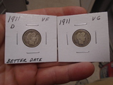 1911 D-Mint and 1911 Barber Dimes