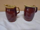 2 Hull Brown Drip Pitchers