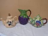 Ceramic Grape Pitcher & 2 Teapots