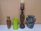 Candle Holder w/ LED Candle & 3 Vases