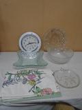 Group of Glassware-Clock-Cloth Plates Mats