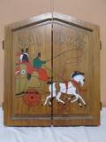 Coach & Horse Wooden Dart Board w/ Darts