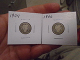 1904 and 1906 Barber Dimes