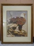 Beautiful Oak Framed Bald Eagle Print