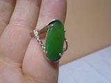 Ladies Sterling Silver Ring w/ Large Green Stone
