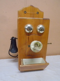 Wooden Wall Telephone Cabinet w/ Shelf