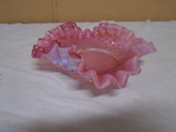 Hobnail Fluted Craberry Glass Bowl
