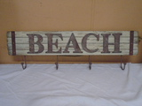 Wooden Beach Sign w/4 Iron Hooks