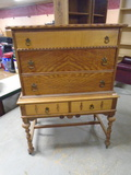 Beautiful Antique 5 Drawer Chest on Chest