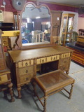 Beautiful Antique 7 Drawer Vanity w/Mirror and Cane Bottom Stool