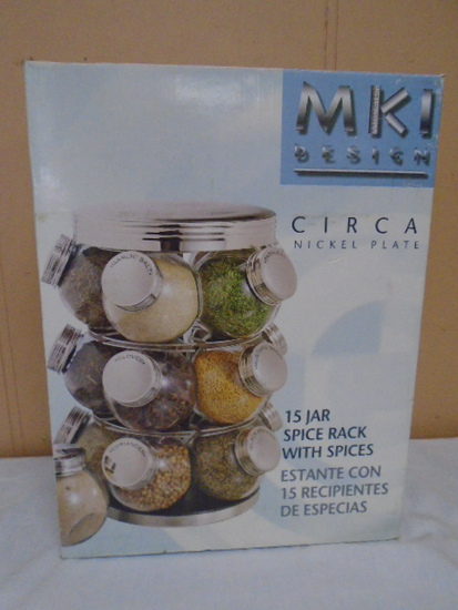MKI Design Nickel Plate 15 Jar Spice Rack w/Spices