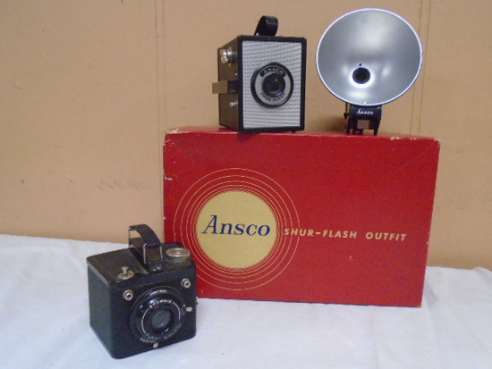 Ansco Shur-Flash Outfit Camera w/Box and Brownie Flash Six-20