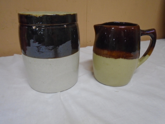Small Brown Over White Crock and Crock Pitcher