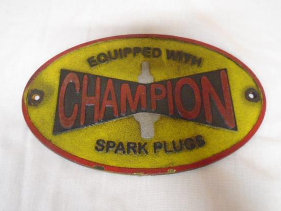 Champion Spark Plug Cast Iron Sign