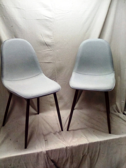 Mid-Century Style Grey Padded Accent Chairs