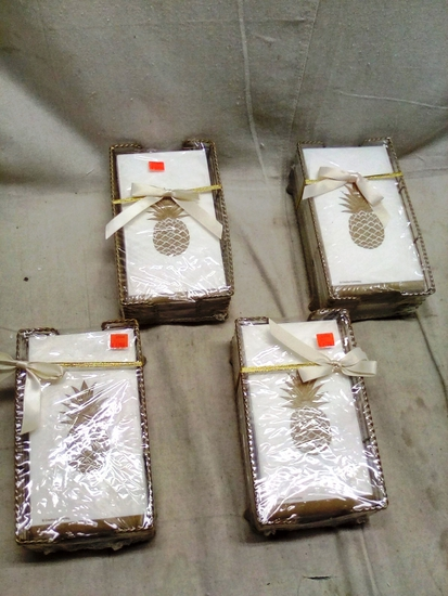 Special Occasion Gold Pineapple Napkins in Metal Napkin Baskets