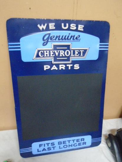 Metal Chevrolet Chalk Board Sign