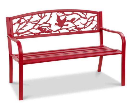 Steel Garden Bench for Outdoor Patio w/ Pastoral Bird Backrest - 50in