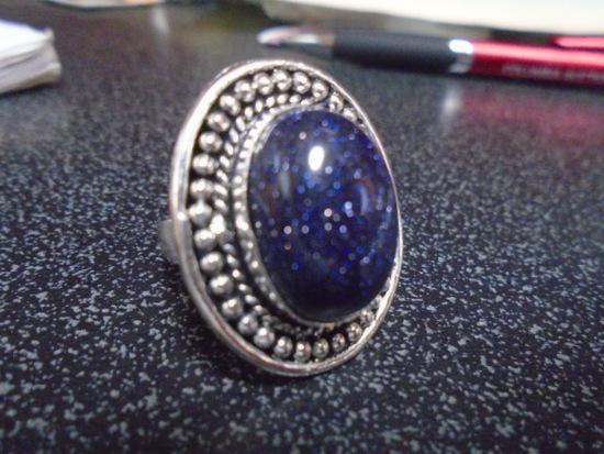 Ladies German Silver & Blue Sun Stone Ring