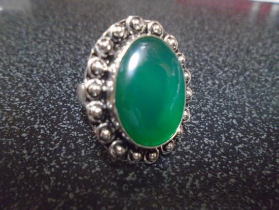 Ladies German Silver & Green Onyx Ring