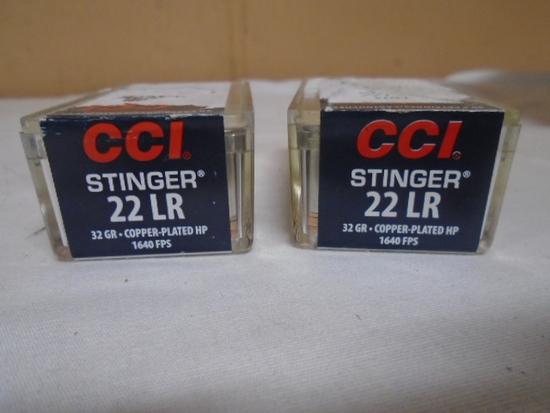 (2)50 Round Boxes CCI Stinger 22LR Rimfire Cartridges
