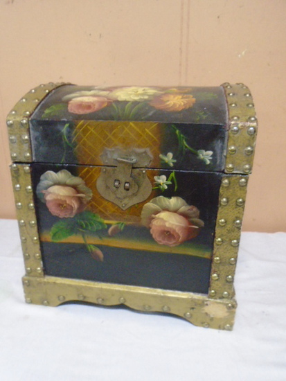 Beautiful Painted Wooden Storage Chest
