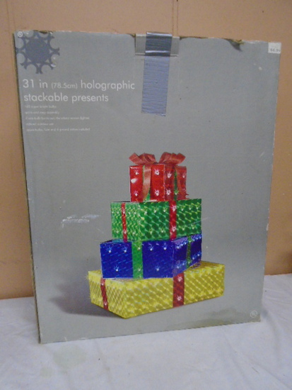 31in Holographic Lighted Stackable Presents