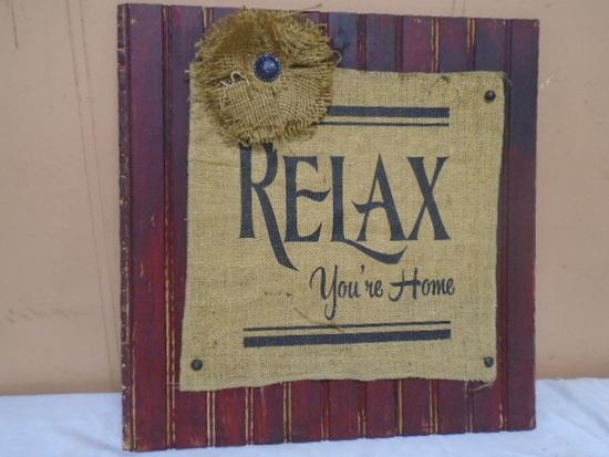 """Wood & Burlap """"Relax"""" Wall Art"""