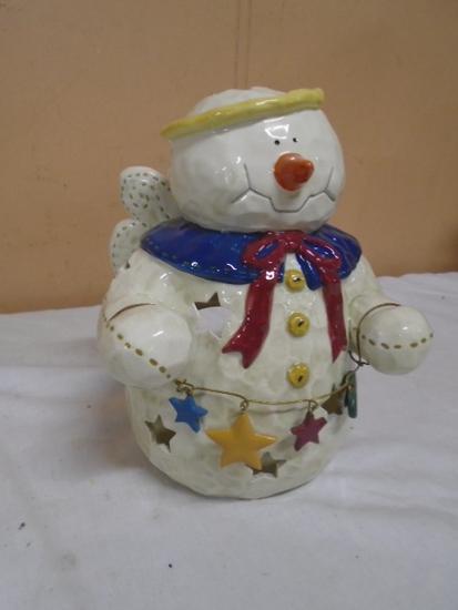 Ceramic Angel Snowman Candle Lamp