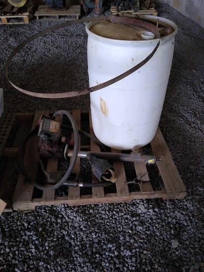 55-gallon drum, squeeze clamp, Bulldog hand crank Jack, Fill-Rite fuel pump