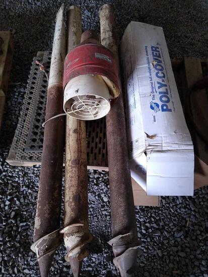 Silo plastic, various grain bin parts, rubber mats