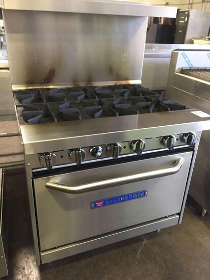 Bakers Pride 6 open burner range & oven