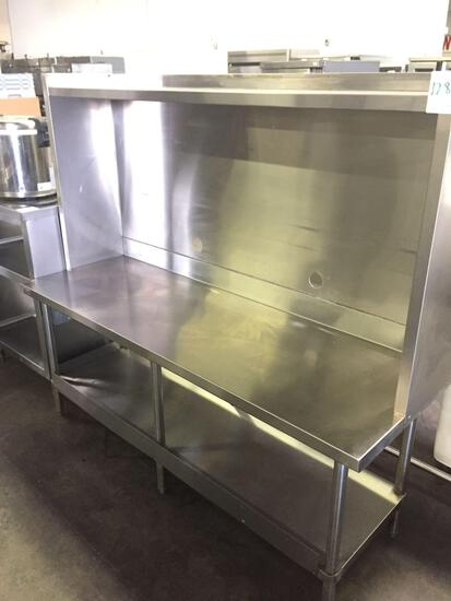 72 x 24 in. all stainless steel table w/ back & topshelf