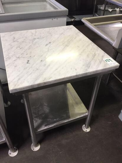 30 in. x 28 in. marble top table w/stainless steel base