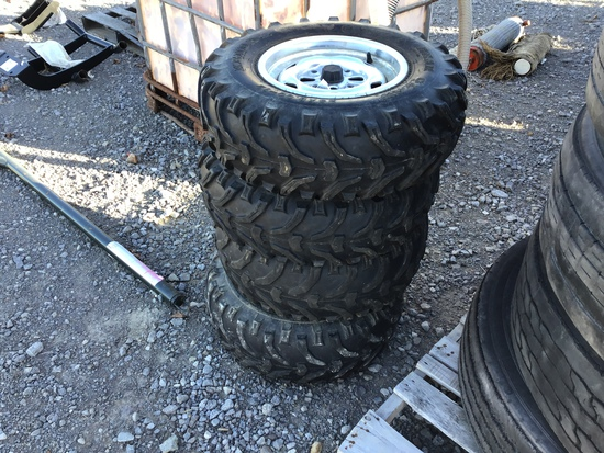 (4) 25X8.00 HONDA FOUR WHEELER TIRES AND RIMS (ALL FOR ONE PRICE)