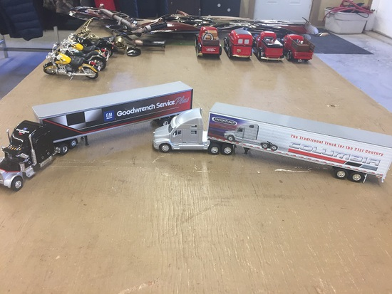 2 TOY TRACTOR TRAILERS