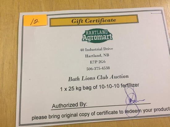 CERTIFICATE FOR 5X25KG BAGS OF 10-10-10 FERTILIZER