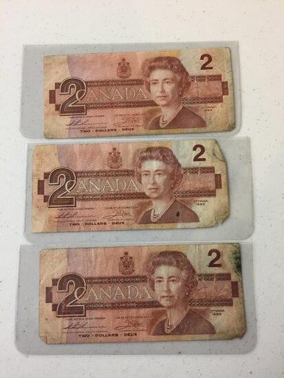3 - 1986 $2 BILLS