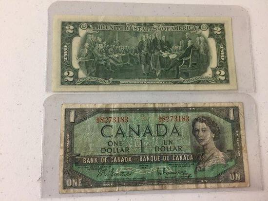1976 US $2 BILL & 1954 CAD $1 BILL