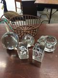 BASKET OF 5 GLASS FIGURINES