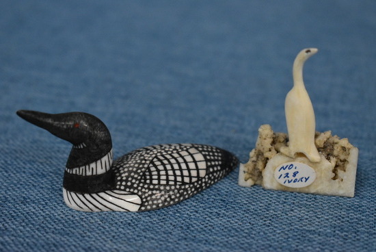 CARVED CRANE AND LOON!